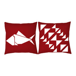 RoomCraft - RoomCraft 2pc Origami Pillow Covers/Cushion Set, Red, 16x16 Inches, Origami Fish - FEATURES: