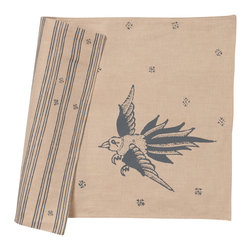 Cricket Radio - Indochine Friendship Placemat, Set of 2, Wheat/Charcoal - A whimsical flight of fancy for your next meal, this set of two placemats comes in your choice of color combinations. Hand-printed on Italian linen, there's a bird design on the front that reverses to simple stripes on the back so you can change the look any time the wind blows.