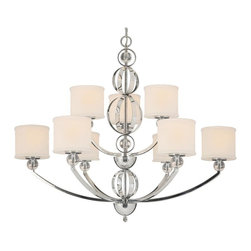 Golden Lighting - 9 Modern Nine Light Chandelier - The Cerchi Nine Light Chandelier provides sophisticated modern style at an affordable price. Its polished chrome finish on metal frame with clear acrylic balls style beautifully with etched opal glass.