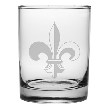 Susquehanna Glass - Fleur De Lis Rocks Glass, 14oz, S/4 - Each 14 ounce tumbler is sand etched with a fleur de lis design. Dishwasher safe. Sold as a set of four. Made and decorated in the USA.
