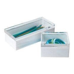 Zhush - White and Lucite Display Boxes, White and Clear, Large - Add some lucite to your life! A fun way to store and display lifes little treasures!