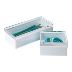 Zhush - White and Lucite Display Boxes, Large - Add some lucite to your life! A fun way to store and display lifes little treasures!