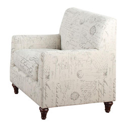 Adarn Inc - Oatmeal Linen Fabric Norah Accent Arm Chair with French Script Pattern - This elegant arm chair is the perfect accent for your home. Add a touch of charm with this chair, featuring a French script fabric print. A tight back and slightly rounded track arms create a clean look, while turned feet complete the transitional style.