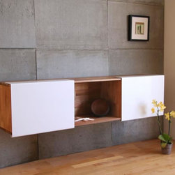 3X Wall Mounted Shelf - Trying to get your stuff off the floor and out of sight? This slim profile wall shelf and storage cubby is a sleek solution. I am especially a fan of the wood and bright white. Pair this with the wall mounted desk for the perfect compact home office.