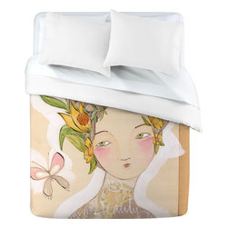 DENY Designs - Cori Dantini Beauty On The Inside Duvet Cover, King - Ultra soft, 100% polyester microfiber.  Metal snap closure.  Full color top, white bottom.  Made in the USA.