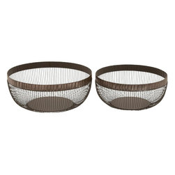 Benzara - Basket Complements Traditional and Modern Decor - Set of 2 - This set of 2 metal baskets is sure to give your home a revamped look. Great to enhance the decor, the best part of these sturdy metal baskets is that they can withstand the extreme conditions of weather that your furniture is exposed to when kept in the garden. In spite of the exposure, these metal baskets continue to look imperial and complement any modern or conventional decor perfectly. The metal basket lends durability and gives your home a refined touch.