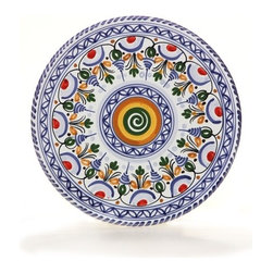 "Spanish Majolica 9"" Decorative Flat Plate - Swirl Center - Spanish Majolica 9"" Decorative Flat Plate - Swirl Center"