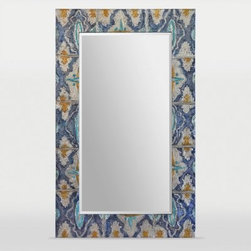 Ren-Wil Camellia Rectangular Wall Mirror - 36W x 60H in. - Like your decor, the Ren-Wil Camellia Rectangular Wall Mirror - 36W x 60H in. takes inspiration from the temples of South Asia. This stunning mirror features a spectacular hand-painted frame in a bold blue, yellow, and white color scheme. The frame surrounds a beveled rectangular mirror that reflects your style. Hanging hardware included.About Ren-WilFor over 45 years, Ren-Wil has been creating quality wall decor, mirrors, and lighting that enhances any space. The company's talented team of in-house artists travels the world to find the newest materials, fashions, and trends, and then applies them to their work. The team also uses multi-media designs for many of their pieces. Ren-Wil is the leader in Alternative Wall Décor and is the market leader in Canada. They thrive on offering a fresh, innovative product line and superior customer service.