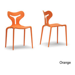 Baxton Studio - Yari Stackable Modern Dining Chair (Set of 2) - Our Yari Dining Chair has the modern form and convenient function to carve itself a place in your home: bright orange/red/ white molded plastic is lightweight and fun; the stackable shape makes it easy to reposition for guests or to clean the floor.