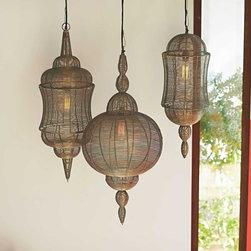 "Viva Terra - Rabat Pendant Lamp (Minaret, left) - These wire lamps embrace North African motifs. 60W max. Hard-wire; professional installation recommended. 6'-long cord. MINARET 11.5""DIAM x 34""H  GLOBE 16.5""DIAM x 34""H  DOME 10""DIAM x 28""H"