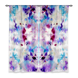 "DiaNoche Designs - Window Curtains Lined by Jackie Phillips Purple Rorschach - Purchasing window curtains just got easier and better! Create a designer look to any of your living spaces with our decorative and unique ""Lined Window Curtains."" Perfect for the living room, dining room or bedroom, these artistic curtains are an easy and inexpensive way to add color and style when decorating your home.  This is a woven poly material that filters outside light and creates a privacy barrier.  Each package includes two easy-to-hang, 3 inch diameter pole-pocket curtain panels.  The width listed is the total measurement of the two panels.  Curtain rod sold separately. Easy care, machine wash cold, tumble dry low, iron low if needed.  Printed in the USA."