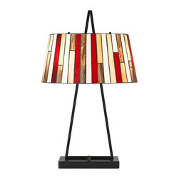 "Cal Lighting - Tiffany Imperial Tiffany Style Art Glass Table Lamp - This inviting Tiffany style table lamp will bathe your space in a warm glow. The colorful oval art glass shade consist of individual rectangular pieces fit together vertically in an elegant array. The simple gunmetal finish base adds a stylish modern flair to the design. An on/off switch operates the lamp. Contemporary Tiffany Style Table Lamp Warm multicolor art glass shade. Metal construction base. Black finish base and shade detail. Oval shade. 2 max 60 watt bulbs (not included). Shade is 18"" wide 9 1/4"" deep and 9"" high. Base is 11"" wide and 5"" deep.  Contemporary Tiffany Style Table Lamp  Warm multicolor art glass shade.  Metal construction base.  Black finish base and shade detail.  Design by Cal Lighting.  Oval shade.  2 max 60 watt bulbs (not included).  On/off switch.  28 1/2"" high.  Shade is 18"" wide 9 1/4"" deep and 9"" high.  Base is 11"" wide and 5"" deep."