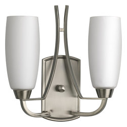 Progress Lighting - Progress Lighting P7127-09 Wisten Two-Light Wall Sconce with Tulip-Shaped Etched - *Two light up lighting wall sconce