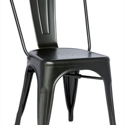 """Chintaly Imports - Alfresco Galvanized Steel Side Chair in Black - Set of 4 - Alfresco Galvanized Steel Side Chair in Black - Set of 4; Galvanized steel; Indoor and Outdoor use; Fully assembled; Multi Color Options; Dimensions:17.52""""W x 20.47""""D x 33.66""""H"""