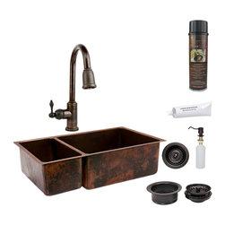 """Premier Copper Products - Premier Copper Products KSP2_K25DB33199 33"""" Copper 25/75 Double Basin Sink Pkg - Premier Copper Products KSP2_K25DB33199 33"""" Hammered Copper Kitchen 25/75 Double Basin Sink Package"""