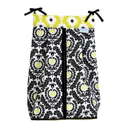 Waverly Baby - Waverly Baby Rise and Shine Diaper Stacker - 71033 - Shop for Diaper Stackers from Hayneedle.com! Even a stiff cup of coffee can't wake you up like changing that first morning diaper. The Waverly Rise and Shine Diaper Stacker keeps everything organized to help you muddle through no matter how early the wakeup call. This convenient sack keeps your baby's diapers concealed and close at hand with clever ties that allow for easy attachment to most dressers and changing tables. Able to hold up to three dozen diapers this stacker keeps you from finding yourself empty-handed at the worst possible moments. Coordinating with the Rise and Shine Collection from Waverly Baby by Trend Lab this diaper stacker features a cheerfully elegant meridian damask print in black and white with pops of linden green.About WaverlyWaverly launched in 1923 and grew to be a premier home fashion and all-encompassing lifestyle brand. They're now one of the most recognized names in home furnishings. With a signature look that's expertly translated into countless classic styles among home furnishing products their assortment includes wall coverings paint bedding window treatments decorative accessories and other key products.