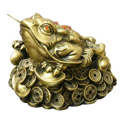 China Furniture and Arts - Money Toad - The money toad is said to bring longevity and wealth to its owner. Also believed to ward off evil influences, they are a great piece to add positive chi to your home or place of business. Symbolizing prosperity, it is common to see a toad or frog statue with a coin in its mouth. The three legged Toad of Chinese mythology is said to live only in the phase of the moon.