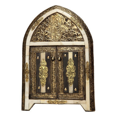 Moroccan Buzz - 17 Inch Moroccan Arched White Bone Mirror with Doors - This eye-catching handcrafted mirror is definitively Moroccan with its classic arch shape. The multi-dimensional frame features inlaid henna-dyed bone and hand-tooled antique silver- and brass-colored metal.
