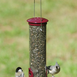 Aspects - Seed Tube Small Berry - The Aspects' Seed Tubes combine heavy die-cast metal caps, ports, bases and a clear UV stabilized polycarbonate tube to make these feeders an investment that lasts a lifetime. A built-in seed deflector in the base allows birds to remove every last seed.
