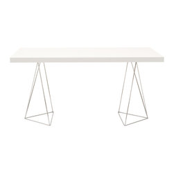 "Temahome - Multi 71"" Table Top W/ Trestles, Pure White / Chrome - Perched on polished chrome legs, this gorgeous table is sleek, simple and hard to ignore. Light and lovely, but as solid as they come, it gives you a stylish spot for dining, drafting or display."