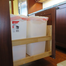 Storage and Access Solutions - A double trash pullout puts the trash and recycling in one place