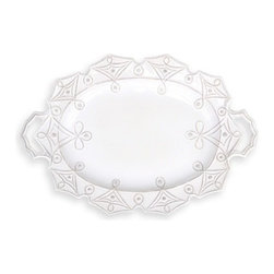 "Juliska - Juliska Jardins du Monde Large-Handled Turkey Platter, Whitewash - Juliska Jardins du Monde Lg. Handled Turkey Platter Whitewash.Elegant angularity reminiscent of the precisely ordered hedgerows of historic garden adorn this handsome platter. Generous handles make for effortless serving of your holiday roast, though you may want to showcase this artistic piece year round in your sideboard. Dimensions: 17"" W x 25"" L"