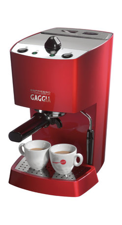Gaggia - Gaggia Espresso Maker - With its irresistible bright red housing and top-of-the-line brewing capability, this little espresso maker is guaranteed to make your mornings better. Don't be fooled by its good looks: It doesn't shirk on the interior components, with a stainless steel boiler and chrome-plated brass filter holder for lasting heat stability. Brew your favorite bean or pod, froth your milk, and voilà: happiness.