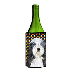 Caroline's Treasures - Bearded Collie Halloween Portrait Wine Bottle Koozie Hugger SS4290LITERK - Bearded Collie Candy Corn Halloween Portrait Wine Bottle Koozie Hugger SS4290LITERK Fits 750 ml. wine or other beverage bottles. Fits 24 oz. cans or pint bottles. Great collapsible koozie for large cans of beer, Energy Drinks or large Iced Tea beverages. Great to keep track of your beverage and add a bit of flair to a gathering. Wash the hugger in your washing machine. Design will not come off.