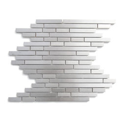 Modern Random Linear Brick Metal Mosaic - This ultra modern tile is comprised of various sizes of stainless steel. Use this steel mixed mosaic on kitchen backsplashes, bathroom walls, fireplaces and even accent walls. The tiles in this sheet are mounted on a nylon mesh which allows for an easy installation.