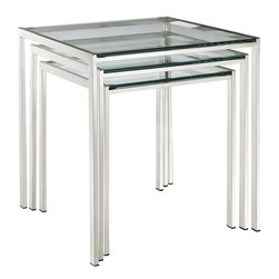 Modway - Nimble Nesting Table in Silver - Energize your space in a quick three-stepped succession. The Nimble nesting table set is as minimalist and modern as it gets. The shimmering stainless steel frame blends well with any space, while the tempered glass top is resilient enough for many years of use.