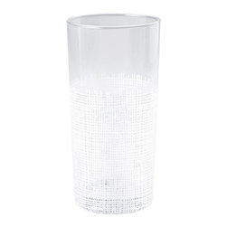 Kathy Kuo Home - Icicle Hollywood Regency White Crosshatch Tall Highball Glasses - Set of 6 - Classic highball glasses get a modern update with delicate white crosshatch details. The elegant barware holds the perfect serving of your favorite drink for a cheerful toast and enjoyable evening. A set of six comes together with individual glasses available separately.