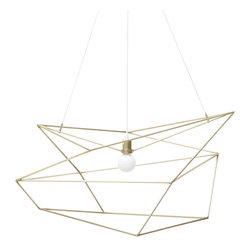 Iacoli & McAllister - Large Spica, Brass - Draw the line at boring design. This pendant light is framed by a seemingly random array of lines, making it different from every angle. Its wildly original looks are bound to delight and surprise your guests (and tickle your own fancy, too).
