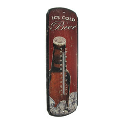 """Zeckos - Vintage Look """"Ice Cold Beer"""" Metal Sign with Thermometer - This metal sign and thermometer features an image of a refreshing, 'Ice Cold Beer' It measures 17 inches tall, 5 inches wide, 1 inch deep and the thermometer is marked in degrees Celcius and Fahrenheit. It has pre-drilled holes that make it easy to mount to any wall, it is a great gift for a friend, and the antique finish makes it a wonderful accent to any home, bar, or restaurant."""