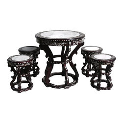 Golden Lotus - Rosewood Mother Pearl Inlay Marble Round Table Set - This is an oriental round table set with 4 stools and 1 table. They are made of solid rosewood  which has inlay of flowers pattern from mother of pearl. The top is natural marble stone. For the hand made items, please understand there are imperfections. The weather may make the wood cracks a bit, it happens naturally.