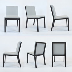 Set of Six Dune Chairs with Ivory Leather Seats & Espresso Wood Finish - Dimensions:L 18''  × W 22''  × H 32''
