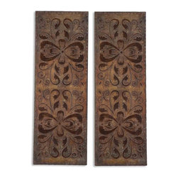 Uttermost - Uttermost Alexia Wall Panels Set of 2 - These decorative wall panels are finished in heavily antiqued, rust brown with burnished distressing and gold highlights.