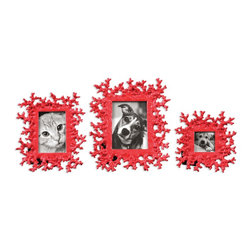 "Uttermost - Uttermost Red Coral Photo Frames Set of 3 18559 - These photo frames feature a dynamic, bright red finish. Small frame size: 8""W x 8""H, Medium frame size: 9""W x 11""H, Large frame size: 11""W x 13""H. Holds photo sizes 3""W x 3""H, 4""W x 6""H, 5""W x 7""H."