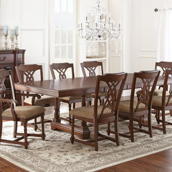 Steve Silver Furniture - Steve Silver Archer 9 Piece Dining Room Set in Medium Cherry - The Archer dining table combines simplicity with bold curves and lines  for a look that's understated and elegant. Made with sturdy hardwood solids and okoume veneers with a burnished medium cherry finish  the dining table with two 18 leaves offers size versatility and seats up to ten comfortably.