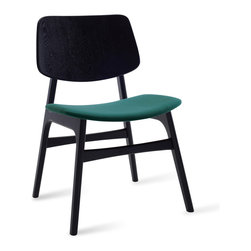 Bryght - Margo Clover Fabric Black Dining Chair - A throwback to the 60s, the Margo chair brings character to a space with its sleek retro lines. Choose from a wide variety of upholstery options.