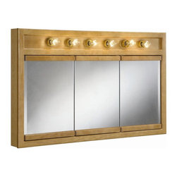 Design House - Richland 6-Light Tri-View Wall Cabinet - Bulbs not included. Uses six 60 watt bulbs. Concealed hinges. Water resistant seal. Rustic shabby chic design, meshing modern construction with vintage aesthetics. Strong corrosion and water resistant. Integrates traditional curves with the amenities of industry leading features. Made from wood and brass. Nutmeg oak finish. 48 in. W x 5 in. D x 30 in. H. Product Instructions. Warranty