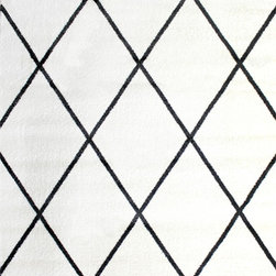 Super Area Rugs - Super Area Rugs, Metro Collection - Dark Gray and White Diamond Trellis Rug, 5' - Soft Fiber Pile which provides comfort but is durable enough to withstand high traffic.