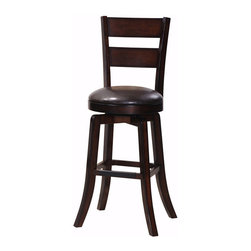 "Steve Silver - Steve Silver Gimlet 30 Inch Ladderback Swivel Bar Stool (Set of 2) - The Gimlet stool collection offers simple sophisticated seating for your counter or bar, with a versatile dark wood finish and a variety of styles to choose from. The Gimlet ladder back swivel bar stool has a high-back horizontal slat design and a dark brown vinyl padded swivel seat. The 30"" seat height makes it compatible with most bars. What's included: Barstool (can only be purchased in sets of 2)."