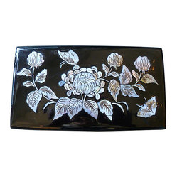 Vintage Mother of Pearl Lacquered Box - Valentine's is coming! Gift someone you love with this beautifully detailed vintage black lacquer jewel box from the 1950's. Lid is inlaid with Mother of Pearl. in a Chrysanthemum and butterfly design. Interior is red velvet with an inlaid compartment for rings. Elegant brass handle and closure.