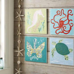 Surf Sea Art Plaques - These are perfect for a coastal playroom or even a bathroom!