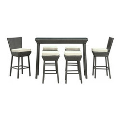 Modway Imports - Modway EEI-617-EXP-WHI-SET Napa 7 Piece Outdoor Patio Pub Set In Espresso White - Modway EEI-617-EXP-WHI-SET Napa 7 Piece Outdoor Patio Pub Set In Espresso White
