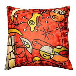 "Modern Silk - Miro Accent Cushion Cover Peces Red Hand Embroidered 18"" x 18"" - A magnificently executed version of the Miro Peces pillow covers in red and black, gold and silver. This striking piece created in the style of modern abstract artist, Joan Miro, is also available from Kashmir Handcrafts in both Kashmir wool and art silk embroidery, and in silver, green and other color schemes. A close-up view of the cover allows you to see the amazing chain-stitch embroidery work of master artisans who have practiced this art their entire lives. Exquisite in any color for any décor."