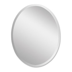Uttermost - Frameless Large Oval Mirror - Hang it vertically or horizontally, either way this oval shaped, frameless mirror is a good egg of a reflector. Polished edges and a smooth finish make this looking glass a subtle addition to your wall space.