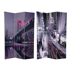Oriental Furniture - 6 ft. Tall New York State of Mind Room Divider - One of a series of beautiful, urban decor room dividers, printed with images from some of the world's greatest cities. The unique use of color, as well as the distinctive perspective of each photograph, combines to create compelling images, front and back, of America's first city.