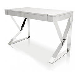 Modloft - Houston White Lacquer Desk - Houston desk has white lacquer top with 2 front panel drawers and geometric steel chrome legs.