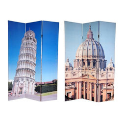 "Oriental Unlimted - 6 ft. Tall Double Sided Pisa & St. Peter's Ca - One double-sided divider, both sides shown in image. Step up to a new level of style with this fine screen, featuring 2 beautiful color photographs of famous architectural wonders from Lo Stivale (""The Boot""). The front photo is a daylight shot of the dome of St. Peter's Basilica, regarded by the Roman Catholic Church as one of the holiest Christian sites. On the back is the ""Leaning Tower of Pisa"", most famous foundation problem in the world. These attractive photographs will add classically Italian decorative accents to your living room, bedroom, dining room or kitchen. This 3 panel screen has different images on each side. High quality wood and fabric covered room divider. Well constructed, extra durable, kiln dried Spruce wood frame panels, covered top to bottom, front, back and edges. With tough stretched poly-cotton blend canvas. 2 Extra large, beautiful art prints - printed with fade resistant, high color saturation ink, creating 2 stunning, long lasting, vivid images, powerful visual focal points for any room. Amazingly inexpensive, practical, portable, decorative accessory. Almost entirely opaque, double layer of canvas, providing complete privacy. Easily block light from a bedroom window or doorway. Great home decor accent - for dividing a space, redirecting foot traffic, hiding unsightly areas or equipment, or for providing a background for plants or sculptures, or use to define a cozy, attractive spot for table and chairs in a larger room. Assembly required. 15.75 in. W x 70.88 in. H (each panel)"